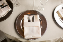 place setting on a table at a wedding reception