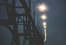 street lamps on a bridge