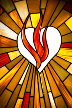 flames over a white heart - stained glass window