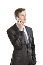 Businessman holding a cell phone.