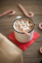 a mug of hot cocoa and candy canes