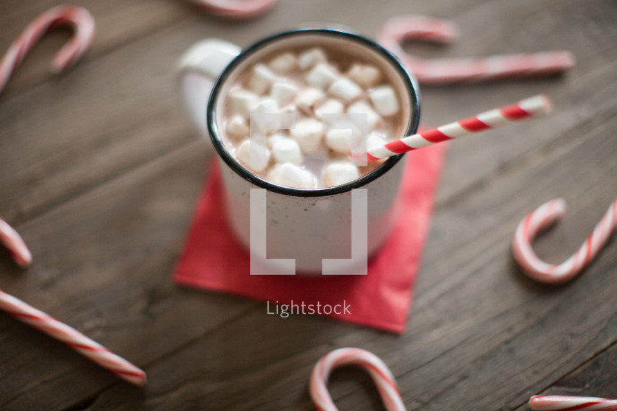 ndy canes, wood floor, spread out, holidays, background, Christmas, wood table, mug, hot cocoa, hot chocolate