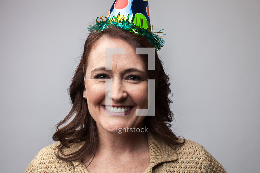 woman in a party hat
