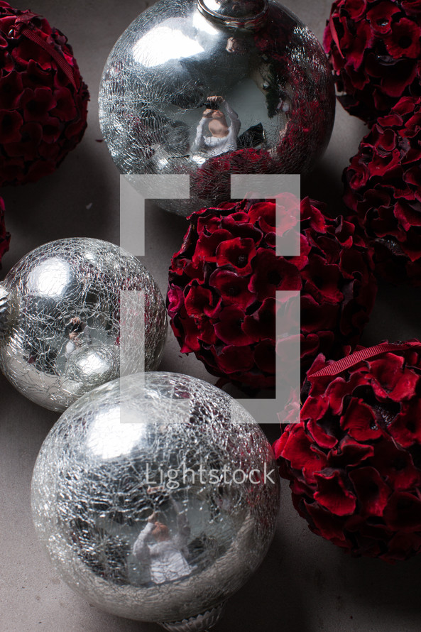 silver and red Christmas ornaments