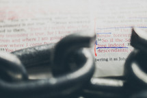 Broken chain link on Bible text -- John 8:36.