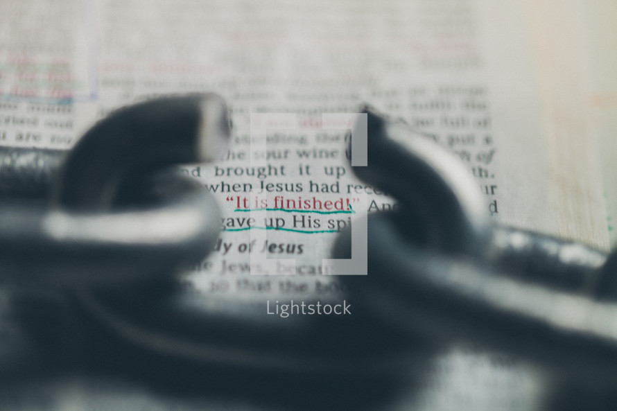 It is finished - broken link in a chain - Bible verse