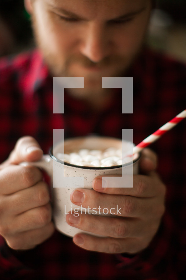 drinking, man, plaid shirt, holding, drinking, hot chocolate, marshmallows, hot cocoa, winter