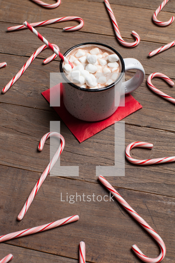 candy canes and hot cocoa