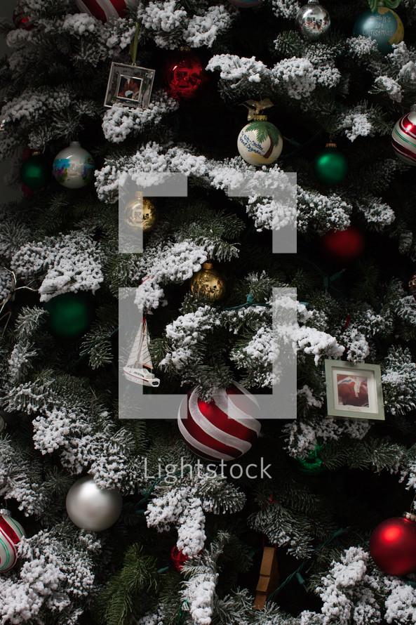 decorated flocked Christmas tree
