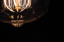 glowing elements in an Edison bulb