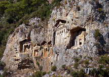Lycian Rock Tombs in the side of a cliff