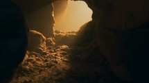 glowing light from an empty tomb