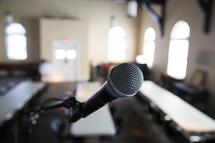 microphone at the front of a classroom