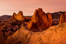 red rock formations  at Garden of the Gods at sunrise