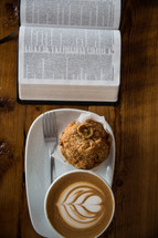 cappuccino, plate, muffin, breakfast, Bible, pages