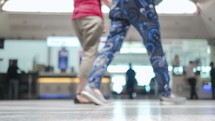 holiday travelers in an airport terminal