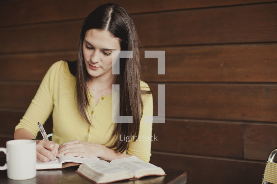 Woman studying Bible
