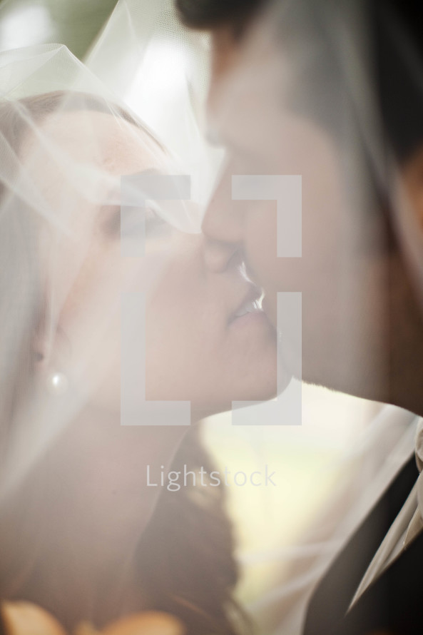 bride and groom kissing through a veil