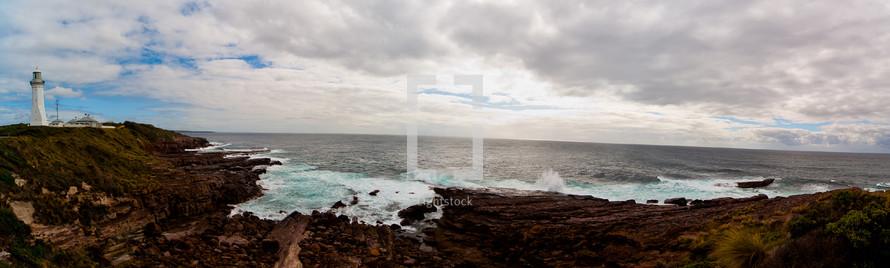 panorama of lighthouse and coastline