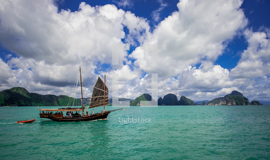 Boat sailing in ocean