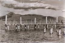 concrete pier in black and white