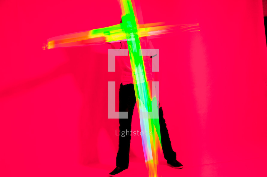 cross made out of neon light
