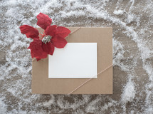 gift box with poinsettia
