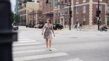 woman on a crosswalk