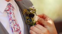 boutonniere on a groom