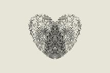 fingerprint heart black