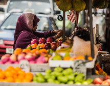 Woman shopping in open market