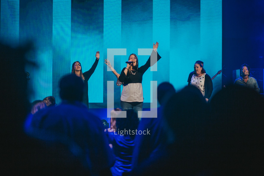 worship leaders in song during a worship service