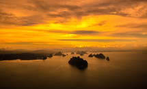 sunset over small islands
