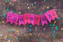 Christmas banner  on a string