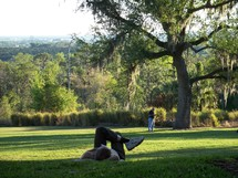 A man relaxes at a green meadow park in Central Florida enjoying the great outdoors and quiet time alone with God.
