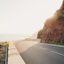 curvy road along a shore in Teneriffa