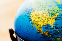 United states on a globe