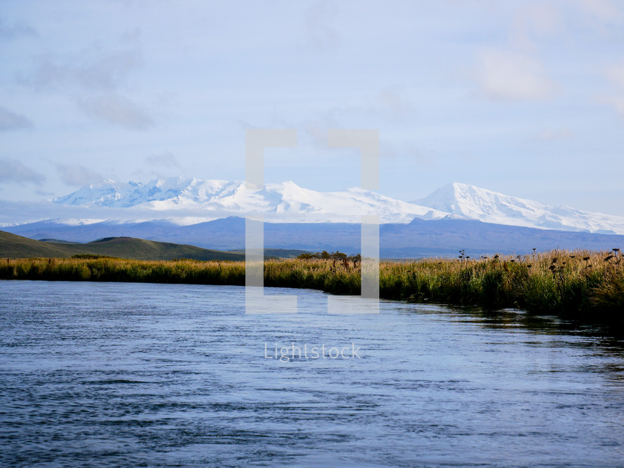 lake and snow capped mountain view