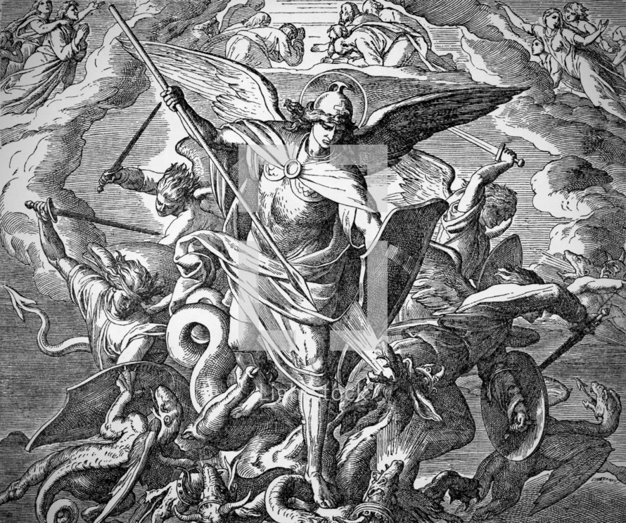 Michael and Angels Fight the Dragon, Revelation 12:7-12