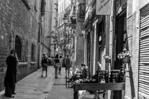 women walking down an alley