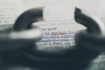 freedom and broken link in a chain  - Bible scripture