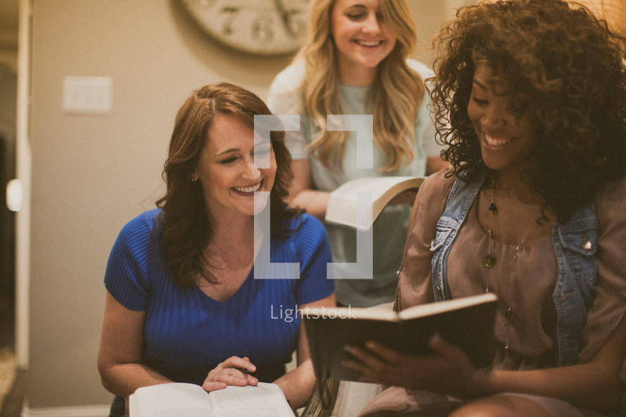 women gathered at a Bible study