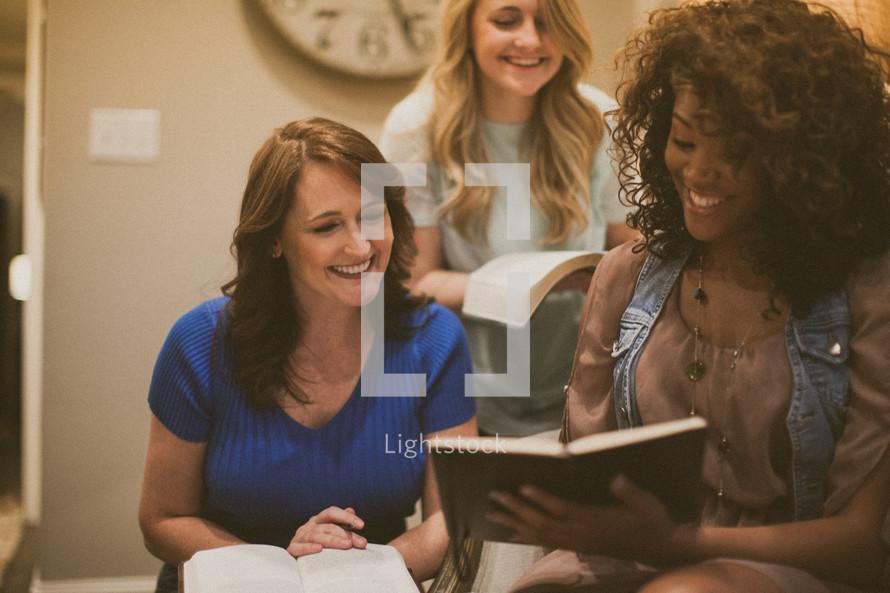 women gathered at a Bible study