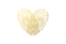fingerprint hearts in gold