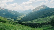 mountain range and valley