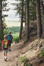 boys hiking on a path in a forest