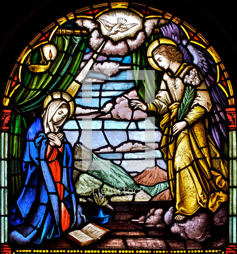 stained glass window annunciation of our Lord