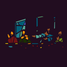 The Last Supper depicted through modern stained glass.