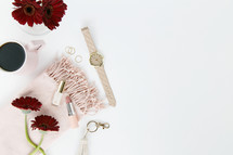 gerber daisies, watch, keychain, pink, red, rings, gold, jewelry, white background, feminine, lipstick, scarf, coffee, mug, winter, blush, nail polish