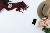 iphone, mums, chrysanthemums, pink, feminine, desk, table, white background, hat, scarf, maroon, pink, flowers